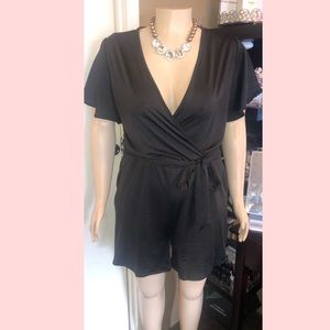 Plus size romper with belt and pockets